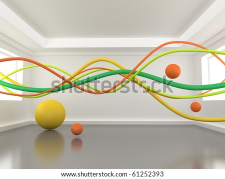 Abstract wires in a room - stock photo