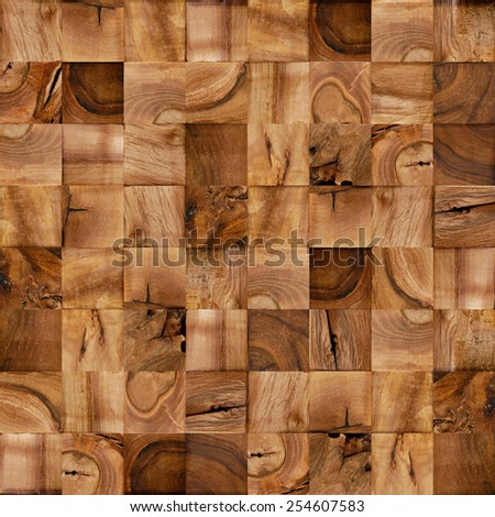 Abstract wooden blocks - seamless background - checkered lining - stock photo