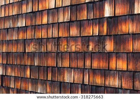 Abstract wooden texture of cedar shingles. Natural grain western red cedar color. - stock photo