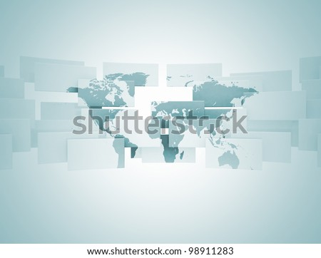 Abstract world map illustration - stock photo