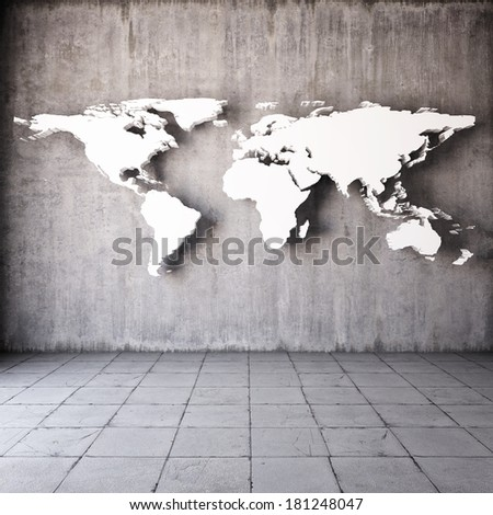 Abstract world map in room with concrete walls - stock photo