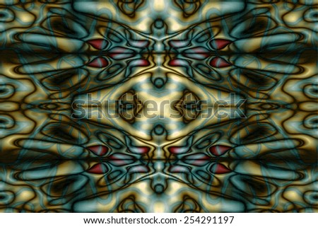 Abstract yellow and blue tribal pattern - stock photo