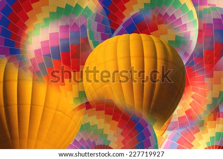 abstract yellow and rainbow hot air balloon forbackground. - stock photo