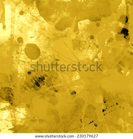 abstract yellow background with splashes, square format - stock photo