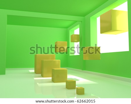 abstract yellow cubes in the green empty room - stock photo