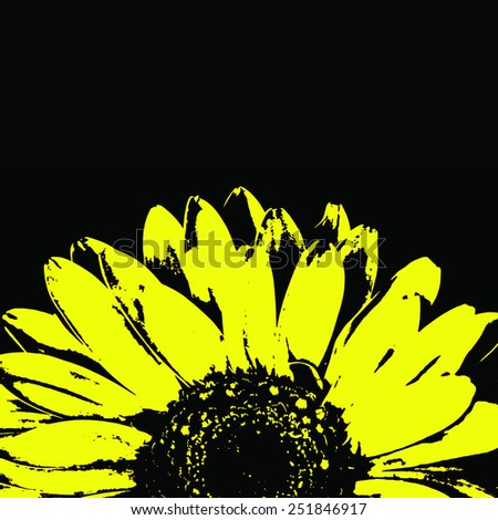 Abstract yellow gerbera flower on black. - stock photo
