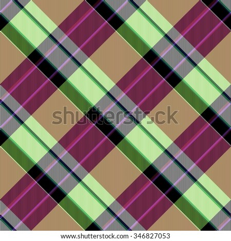 Abstract yellow lilac red green brown checked crossover striped diagonally seamless pattern - stock photo