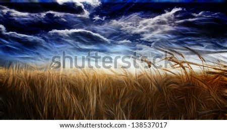 Abstracted Field and Sky - stock photo