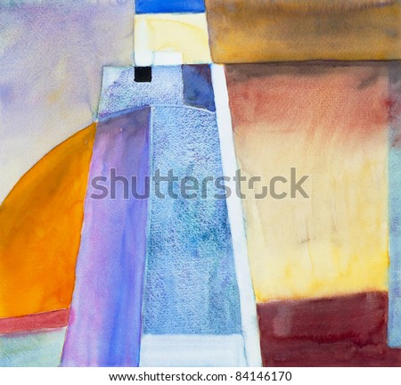 abstracted landscape/seascape watercolor painting - stock photo