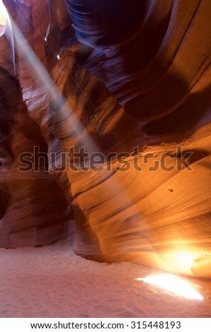 abstraction created by sandstone walls of Antelope Canyon, USA - stock photo