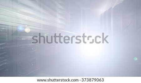 abstraction in the data center and mainframe-style blur light - stock photo