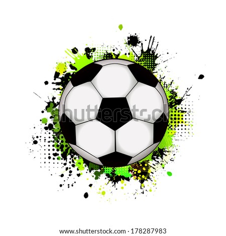 Abstraction with a soccer ball. Raster - stock photo