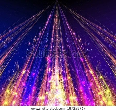 Abstraction with laser beams and flare sparks and the stars are shining in the darkness, the light descends in the form . abstraction-based fractal graphics - stock photo