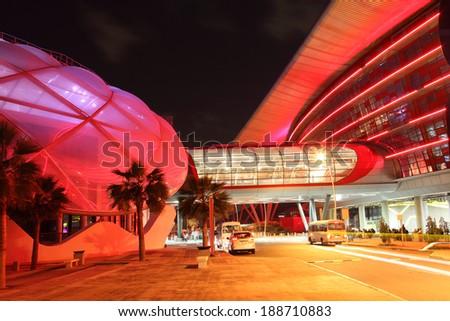 ABU DHABI, UAE - DEC 26: Exterior of the Ferrari World at Yas Island in Abu Dhabi. December 26, 2013 in Abu Dhabi, United Arab Emirates - stock photo