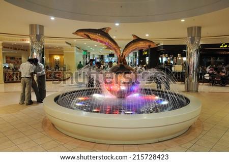 ABU DHABI, UAE - FEB 23: Fountain inside of the Marina Mall, Abu Dhabi. February 23, 2010 in Abu Dhabi, United Arab Emirates - stock photo