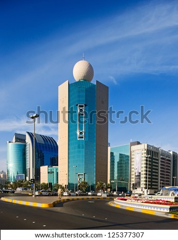 ABU DHABI, UAE - JANUARY 29 - Etisalat  Building is a headquarters of the Emirates Telecommunications Corporation seen. Picture taken from the Corniche direction on January 29, 2009. - stock photo