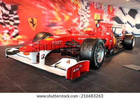 ABU DHABI, UAE - JUNE 1: Formula One Racing Car in Ferrari World Theme Park. June 1, 2011 in Abu Dhabi, United Arab Emirates  - stock photo