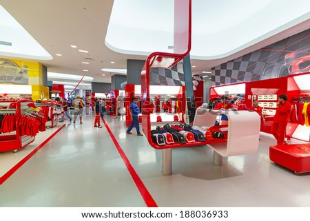 ABU DHABI, UAE - MARCH 27: Souvenir shop in Ferrari World at Yas Island, Abu Dhabi on March 27, 2014, UAE. Ferrari World is the largest indoor amusement park in the world. - stock photo
