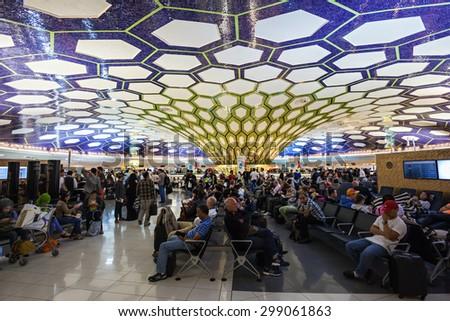 ABU DHABI, UAE - OCTOBER 14, 2014: Abu Dhabi International Airport interior. - stock photo