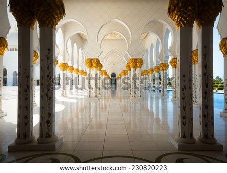 Abu Dhabi, UAE: Sheikh Zayed Grand Mosque on October 2, 2014 in Abu Dhabi - stock photo