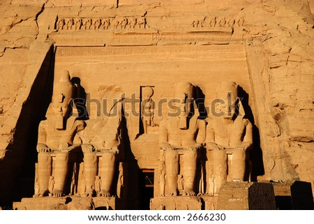 Abu Simbel colossus, Egypt, Africa - stock photo