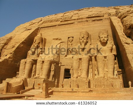 Abu Simbel Temple of  King Ramses II, a masterpiece of pharaonic arts and buildings in Old Egypt. - stock photo