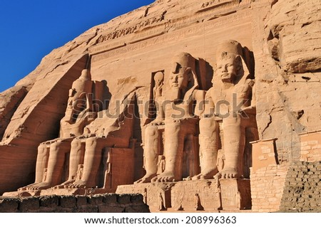 Abu Simbel Temple of King Ramses II, Egypt. - stock photo