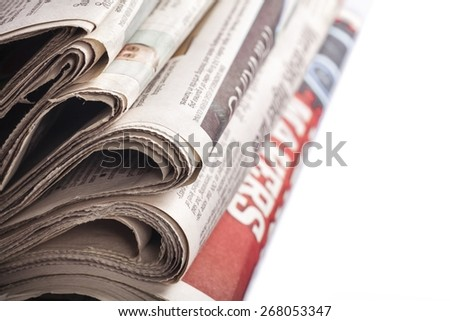 Abudance. Stack of newspapers - stock photo
