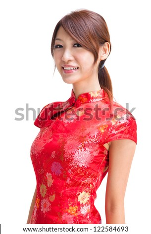 Abundance chinese girl in traditional Chinese cheongsam, isolated on white background - stock photo
