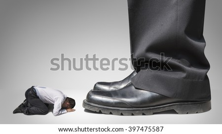 abuse and bully business man , boss and subordinate - stock photo