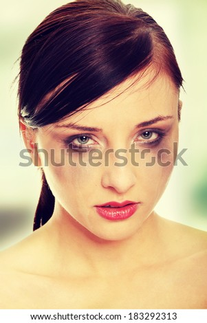 Abused woman crying - stock photo
