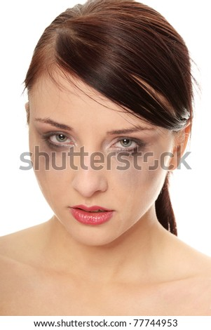 Abused woman crying over white background - stock photo