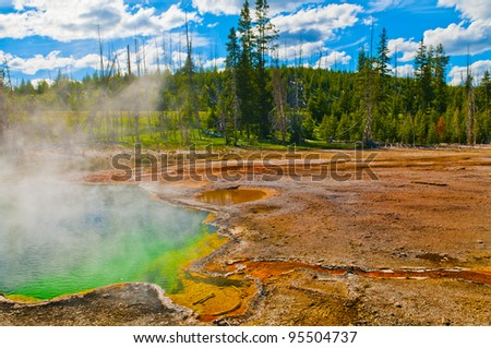 Abyss Pool in the West Thumb Geyser Basin of Yellowstone National Park - stock photo