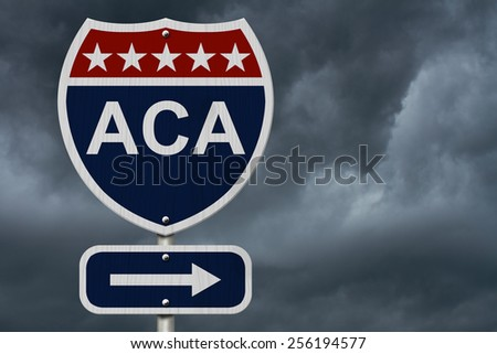 ACA Sign, A red, white and blue highway sign with words ACA and an arrow sign with stormy sky background - stock photo