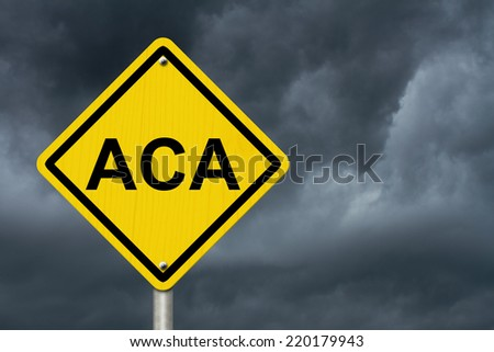 ACA Warning Sign for Affordable Care Act, An American road warning sign with word ACA with a stormy sky background - stock photo