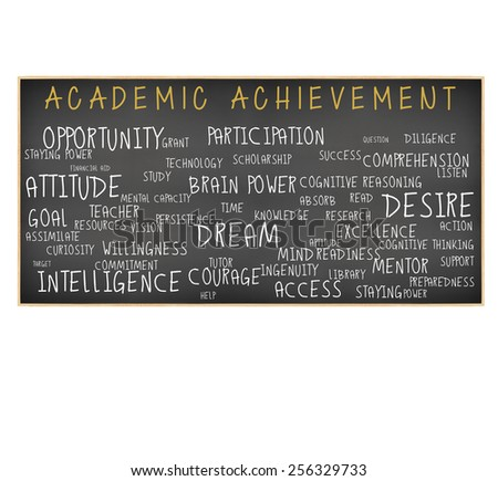 Academic Achievement Blackboard: Intelligence, Readiness, Attitude, Opportunity, Preparedness, Resources, Goal, Time, Access, Participation, Listen,Comprehension, Technology, Persistence isolated  - stock photo