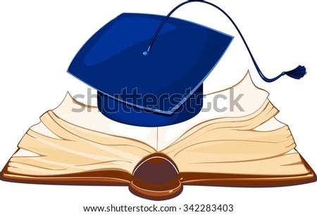 Academic cap and open book - stock photo