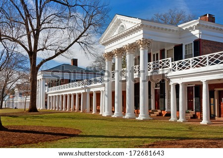 Academical Village at the University of Virginia, Charlottesville - stock photo