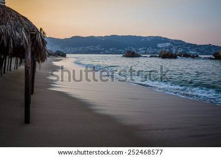 Acapulco Bay just before dawn - stock photo