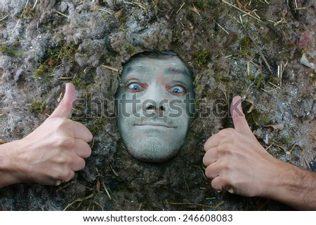 acarus man thumbs up gesture, dust allergy concept - stock photo