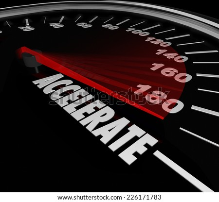 Accelerate word on a speedometer for gaining speed in a race or competition where the quickest competitor wins the game - stock photo