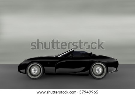 Acceleration - Black convertible Sportscar / Sports car - stock photo