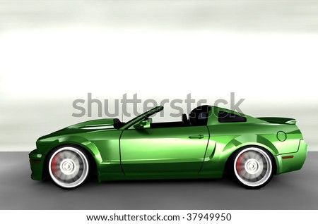 Acceleration - Green Muscle Sportscar / Sports car - stock photo