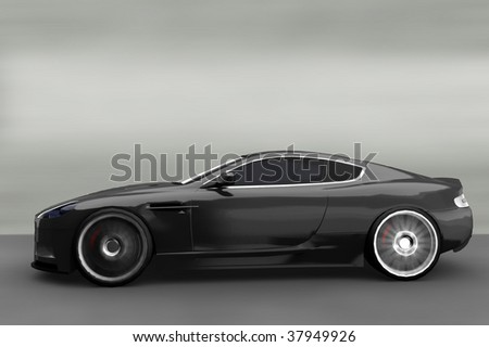 Acceleration - Grey luxury Business / Sportscar - stock photo