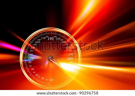 acceleration speedometer on night road - stock photo