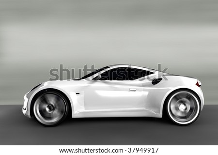Acceleration - White Sports Car  / Sportscar - stock photo