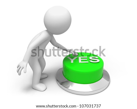 accept/A man is pushing the button - stock photo
