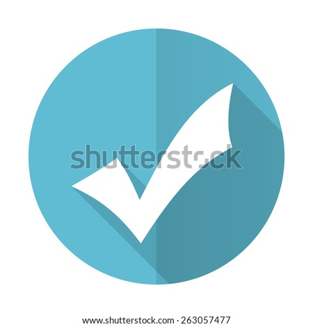 accept blue flat icon check sign  - stock photo