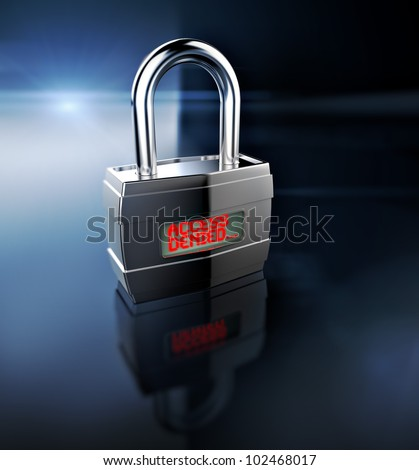 Access Denied padlock, security concept - stock photo
