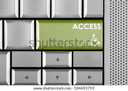 Access key on a computer keyboard with clipping path around the Access key - stock photo